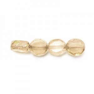 8mm Crystal Champagne Czech Glass Fire Polished Beveled Coin Loose (300pc)