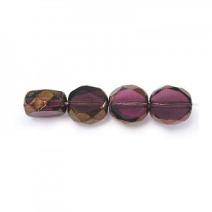 8mm Amethyst Antiqued Bronze Fire Polished Beveled Coin Loose (300pc)