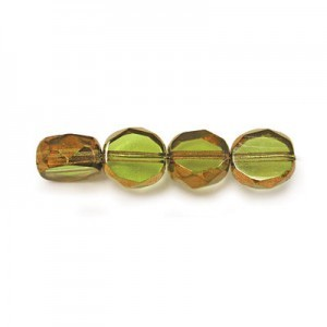 6mm Olivine Antiqued Bronze Czech Glass Fire Polished Beveled Coin Loose (600pc)