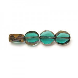 6mm Blue Zircon Antiqued Bronze Fire Polished Beveled Coin Loose (600pc)