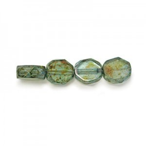 6mm Lumi Green Czech Glass Fire Polished Beveled Coin Loose (600pc)