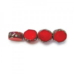 10mm Blood Red Picasso Czech Glass Fire Polished Beveled Coin Loose (150pc)