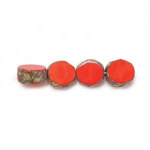 8mm Coral Picasso Fire Polished Beveled Coin Loose (300pc)