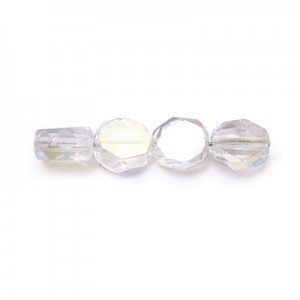 10mm Crystal AB Fire Polished Beveled Coin Loose (150pc)
