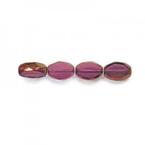 11x8mm Amethyst Antiqued Bronze Czech Glass Fire Polished Beveled Oval (150pc)