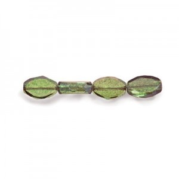 11x8mm Lumi Green Czech Glass Fire Polished Beveled Oval (150pc)