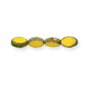 11x8mm Pineapple Picasso Czech Glass Fire Polished Beveled Oval (150pc)