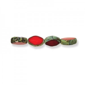 11x8mm Blood Red Picasso Czech Glass Fire Polished Beveled Oval (150pc)