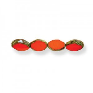 11x8mm Coral Picasso Czech Glass Fire Polished Beveled Oval (150pc)