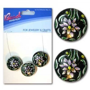 20mm Black Flower Coin Glass Beads - 3pc/Card