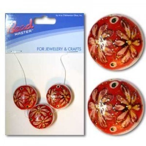 20mm Red Flower Coin Glass Beads - 3pc/Card
