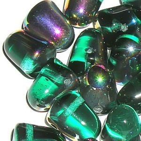 7x10mm Teal Vitrail Czech Glass Gumdrops