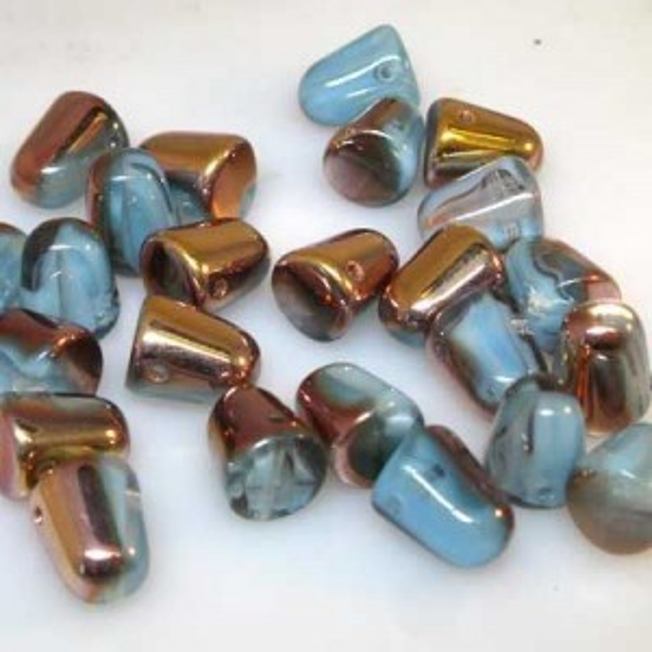 7x10mm Fountain Blue Capri Czech Glass Gumdrops