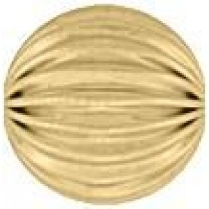 10mm Corrugated Round Bead 2.7mm Hole 14k Gold Filled 5pcs
