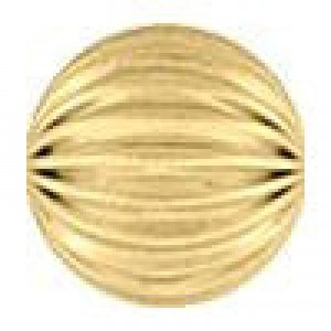 8mm Corrugated Round Bead 2.0mm Hole 14k Gold Filled 10pcs