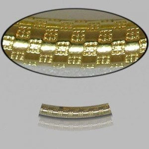 2x20mm Gold Filled Noodle Tube Checkers 5pcs