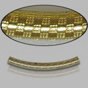 2x30mm Gold Filled Noodle Tube Checkers 5pcs