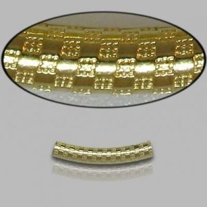 3x20mm Gold Filled Noodle Tube Checkers 5pcs