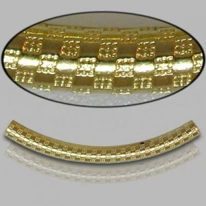 3x35mm Gold Filled Noodle Tube Checkers 5pcs