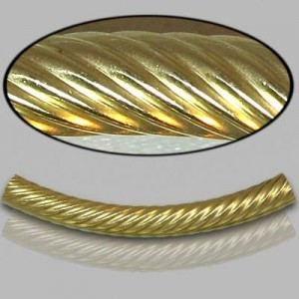 4x35mm Gold Filled Noodle Tube Spiral 5pcs