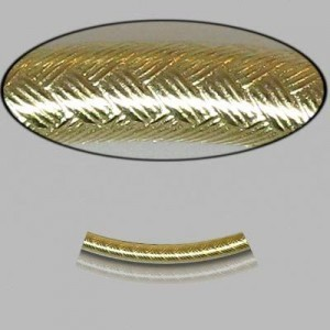 2x20mm Gold Filled Noodle Tube Wicker 5pcs