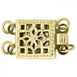 9mm Square Filigree Pearl 2 Row Clasp 14k Gold Filled 2pcs