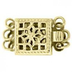 9mm Square Filigree Pearl 3 Row Clasp 14k Gold Filled 2pcs