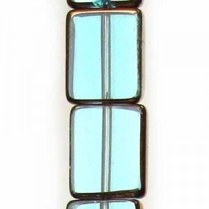 12x10mm Aqua Rectangle Table Cut with Bronze - 7 Inch Strand (Apx 14 Beads)