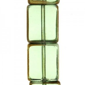 12x10mm Green Rectangle Table Cut with Bronze - 7 Inch Strand (Apx 14 Beads)