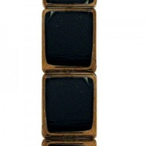 12x10mm Jet Rectangle Table Cut with Bronze - 7 Inch Strand (Apx 14 Beads)