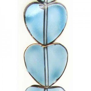 14mm Sapphire Heart Table Cut with Bronze - 7 Inch Strand (Apx 12 Beads)