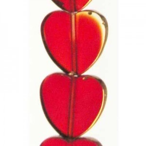 14mm Siam Heart Table Cut with Bronze - 7 Inch Strand (Apx 12 Beads)