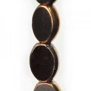 11x8mm Jet Small Oval Table Cut with Bronze - 7 Inch Strand (Apx 16 Beads)