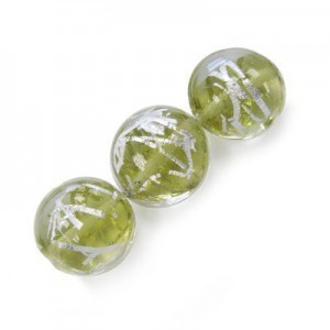 20mm Crystal-Olivine W/ Silver Thread Coin 16 Inch Strand (Approx. 21 Beads)