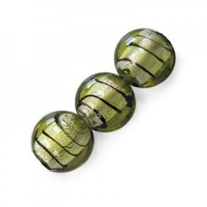 20mm Olivine W/ Black Stripe Silver Foiled Coin 16 Inch Strand (Approx. 21 Beads)