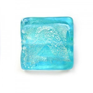 20mm Aqua Silver Foiled Square 16 Inch Strand (Approx. 21 Beads)