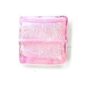 20mm Light Rose Silver Foiled Square 16 Inch Strand (Approx. 21 Beads)