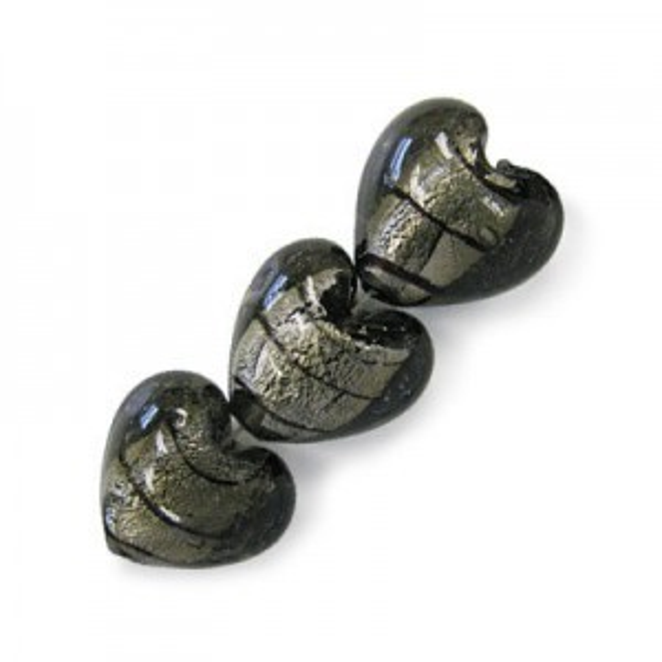 23mm Black Diamond W/ Black Stripe Silver Foiled Heart 16 Inch Strand (Approx. 18 Beads)