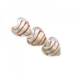 15mm Crystal W/ Red Stripe Silver Foiled Heart 16 Inch Strand (Approx. 27 Beads)