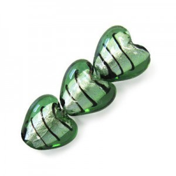 15mm Mint W/ Black Stripe Silver Foiled Heart 16 Inch Strand (Approx. 27 Beads)