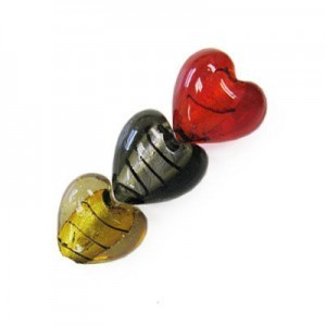 23mm Mixed Colors W/ Black Stripe Silver Foiled Heart 16 Inch Strand (Approx. 18 Beads)
