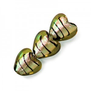 15mm Olivine W/ Black Stripe Silver Foiled Heart 16 Inch Strand (Approx. 27 Beads)
