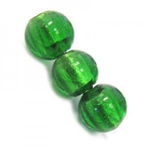 10mm Emerald Silver Foiled Round Bead 16 Inch Strand (Approx. 40 Beads)