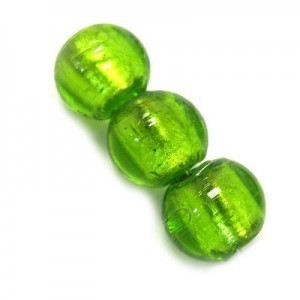 10mm Olivine Silver Foiled Round Bead 16 Inch Strand (Approx. 40 Beads)