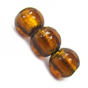 12mm Smoked Topaz Silver Foiled Round Bead 16 Inch Strand (Approx. 30 Beads)