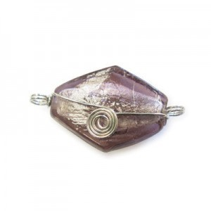 32mm (Approx) Amethyst Silver Foiled Diamond Shape Silver Wired 10pcs