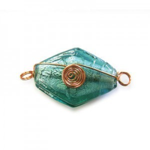 32mm (Approx) Teal Silver Foiled Diamond Shape Copper Wired 10pcs