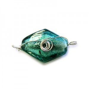 32mm (Approx) Teal Silver Foiled Diamond Shape Silver Wired 10pcs