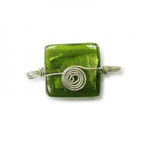 21x20mm (Approx) Olivine Silver Foiled Square Silver Wired 20pcs