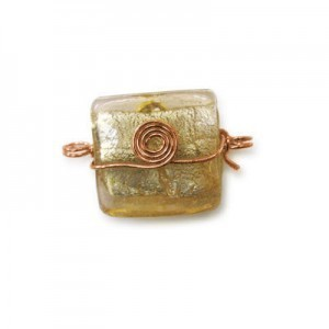 21x20mm (Approx) Peach Silver Foiled Square Copper Wired 20pcs
